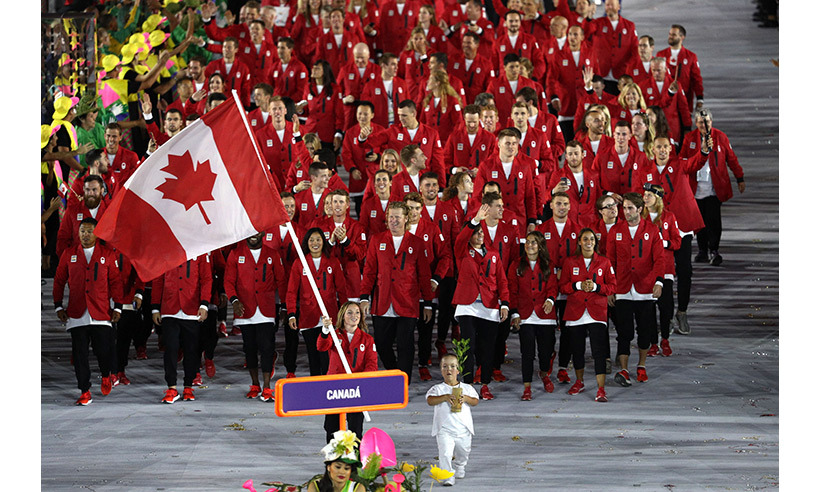 The 313-strong Canadian Olympic Team enter the stadium during the games' opening ceremonies in Rio. 