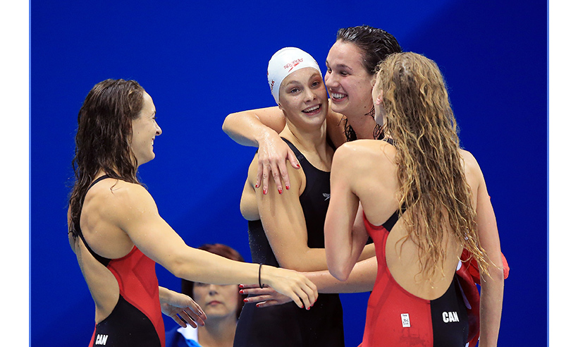 The Canadian women's 4x100-metre freestyle relay team were the first Canucks to land on the podium in Rio. Sandrine Mainville, Chantal van Landeghem, Taylor Ruck and Penny Oleksiak raced to a bronze place finish on day one of competition. 