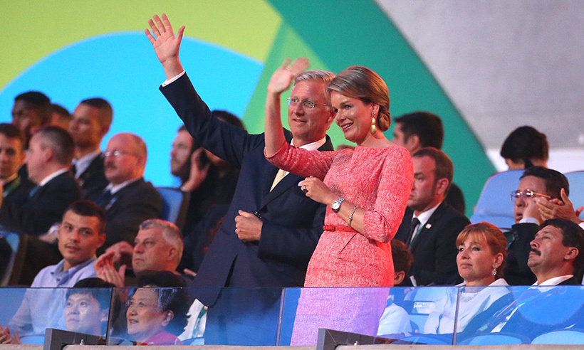 Belgium's King Philippe and Queen Mathilde cheered on their country's athletes during the opening ceremonies. 