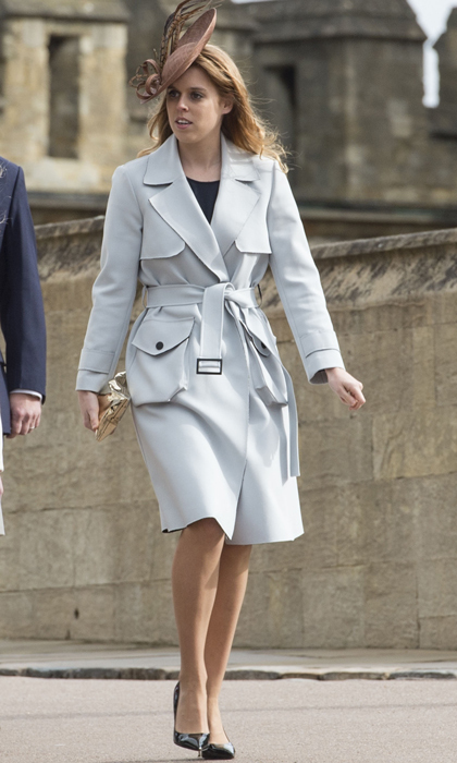 Just like her cousin-in-law the Duchess of Cambridge, Beatrice knows how to dress for a royal engagement. Here she pairs an elaborate fascinator with a pale blue trench coat to attend an Easter church service at Windsor Castle.
