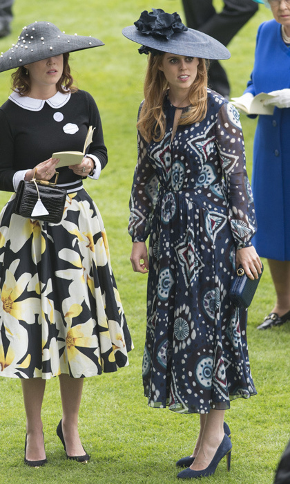 The Royal Ascot regular dazzled in a long-sleeved printed dress and oversized chapeau at the 2016 races alongside her sister Princess Eugenie. 