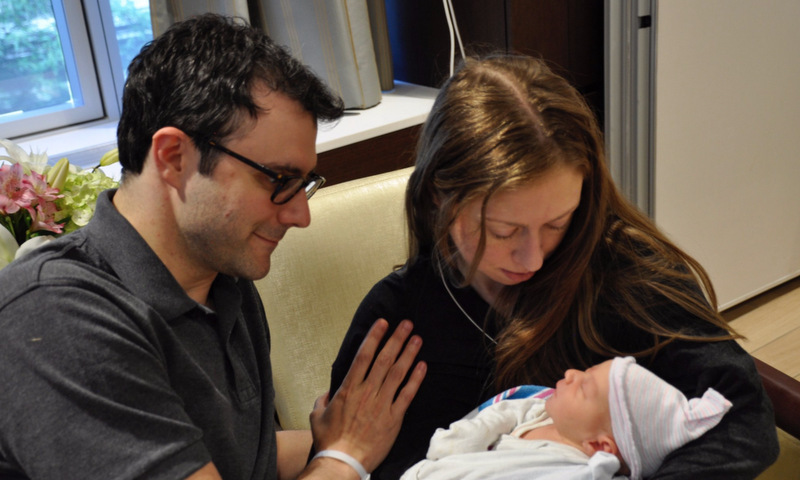 "Chelsea Clinton and her husband Marc Mezvinsky welcomed their second child, son Aidan Clinton Mezvinsky, on June 18. The proud mom shared the first photo of her new bundle of joy on Twitter, writing, ""At 7:41 AM Saturday, our family and hearts expanded with Aidan's arrival. We are blessed.""