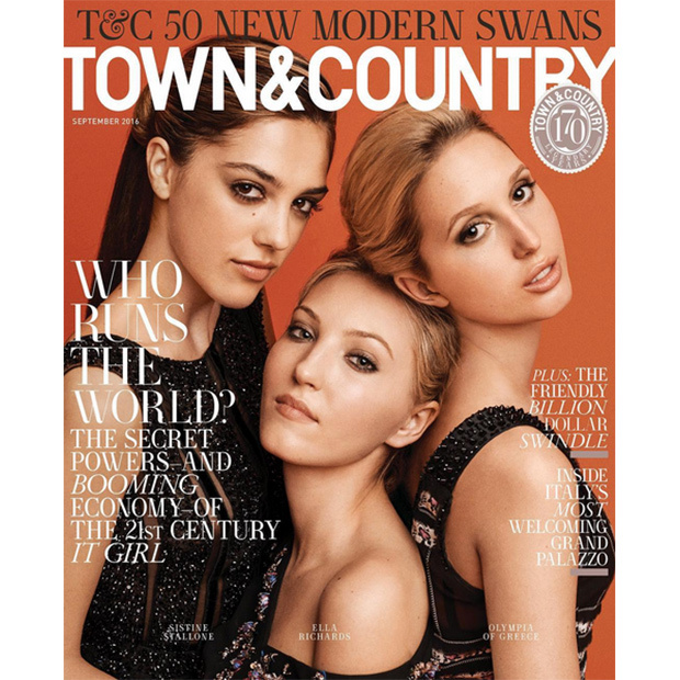 Princess Olympia of Greece and Denmark (R) joined Keith Richards's granddaughter Ella and Sistine Stallone (L), daughter of actor Sylvester Stallone, on the September 2016 cover of <i>Town & Country</i>. 