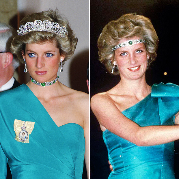 Here, Diana wears the Royal Family's Cambridge emerald-and-diamond choker. The stunning creation once belonged to Queen Mary, who passed it along to her granddaughter Queen Elizabeth. Diana also wore the glittering piece as a headband. 