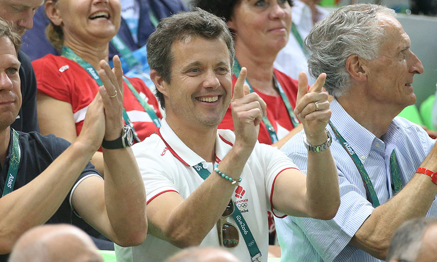 <p>On day two of the Olympics, Frederik showed his support for the Danish national team as they faced Argentina in a handball event.