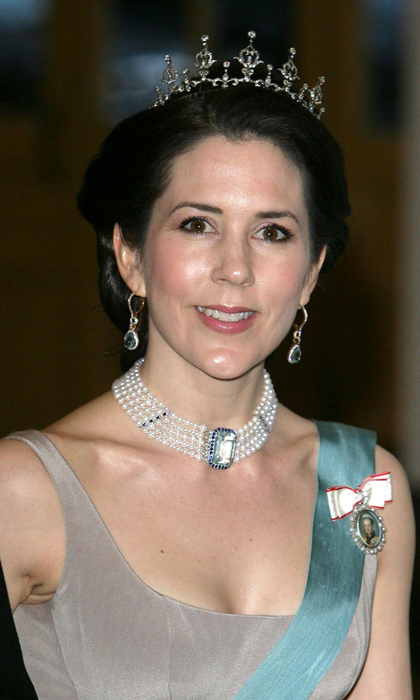 Princess Mary of Denmark has an impressive collection of aquamarine jewels, including this large diamond and pearl choker with an aquamarine clasp.