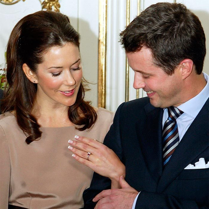 <p>On October 8, 2003 the couple became officially engaged. Frederik presented Mary with a stunning engagement ring featuring a large emerald-cut diamond and two emerald-cut rubies, a nod to Denmark's national flag.