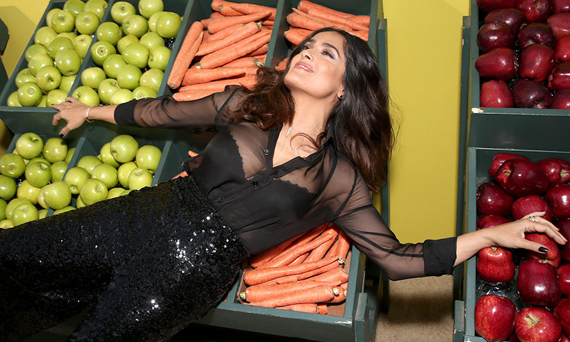 <i>Sausage Party</i> star Salma Hayek vegged out at the movie's premiere in Los Angeles. 