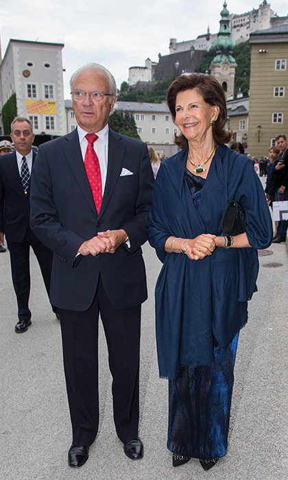 Sweden's Queen Silvia looked glamorous in a floor-length blue gown.