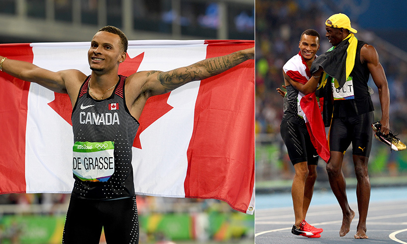 Andre De Grasse raced to bronze in the men's 100m final on Sunday (Aug. 14). The 21-year-old celebrated his success with the world's fastest man, Usain Bolt. 