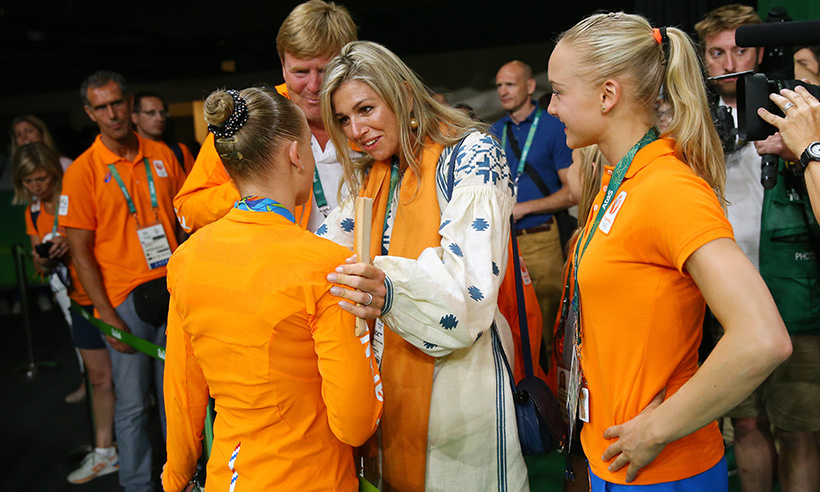 Queen Maxima and King Willem-Alexander of the Netherlands were among the first to congratulate gymnast Sanne Wevers on her gold medal performance on the balance beam. The 24-year-old athlete is the first Dutch woman to earn a medal in the sport at the Olympics. 