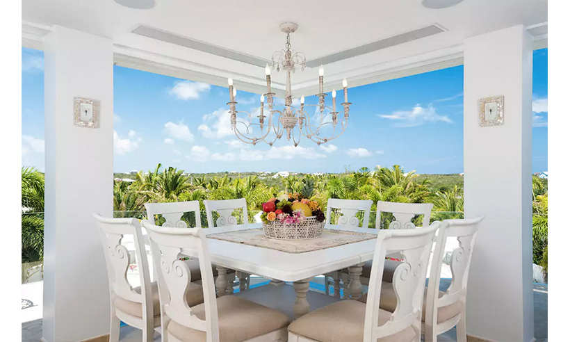 Each house includes open-air dining areas. 