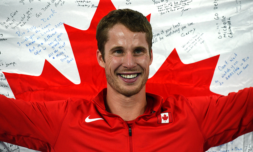 Corunna, Ont.-native Derek Drouin captured gold in the men's high jump final on Tuesday (Aug. 16). The 26-year-old delivered his season-best jump at a height of 2.38 metres.<br>Photo: © Franck Fife/AFP/Getty Images