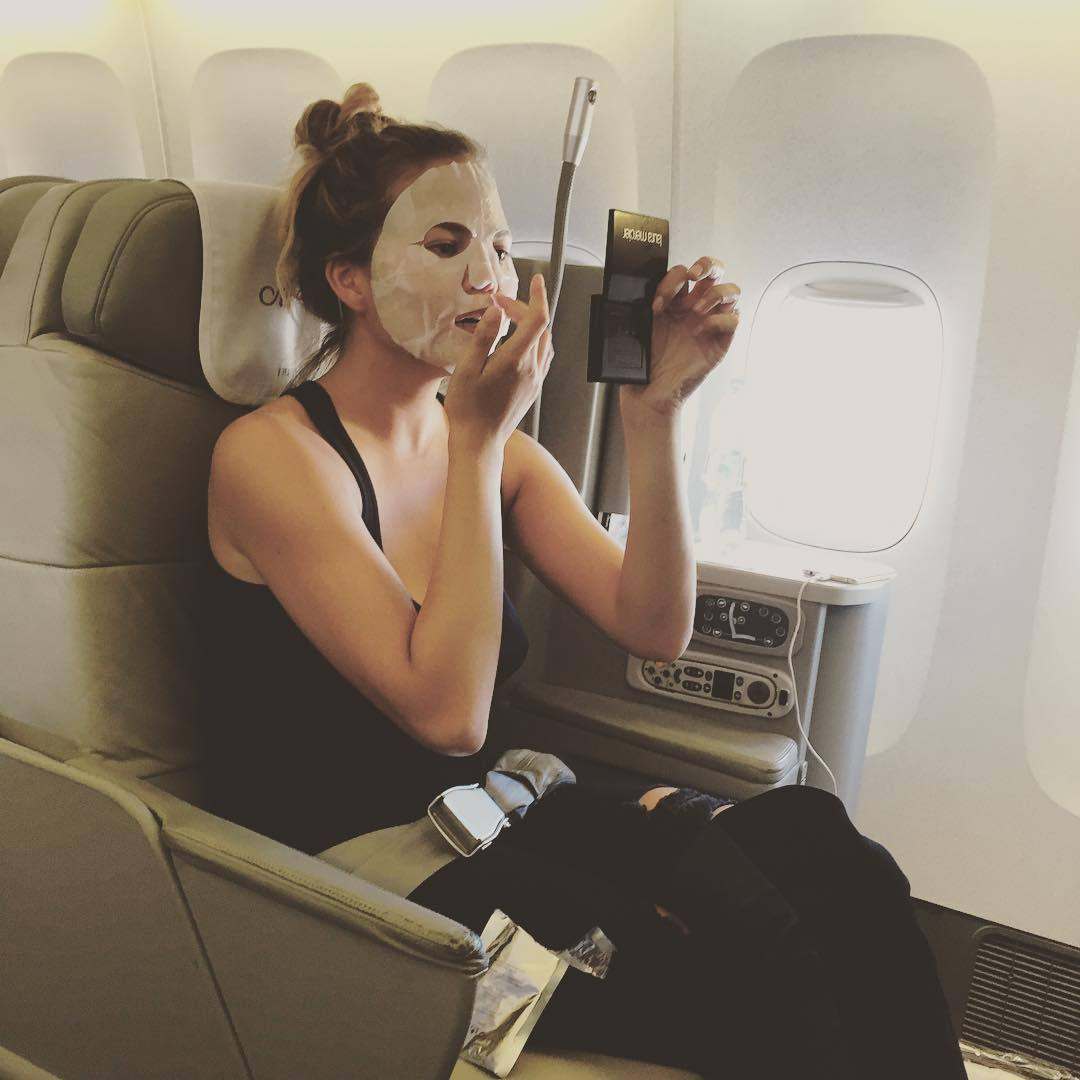 "And the weird things she does to look model-worthy. ""Scaring children,"" she said of this mid-flight mask treatment. 