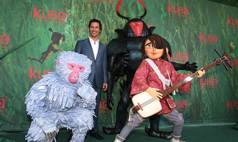Father of three Matthew McConaughey hung out with characters from his new flick <i>Kubo and the Two Strings</i> at the movie's premiere in Hollywood. 