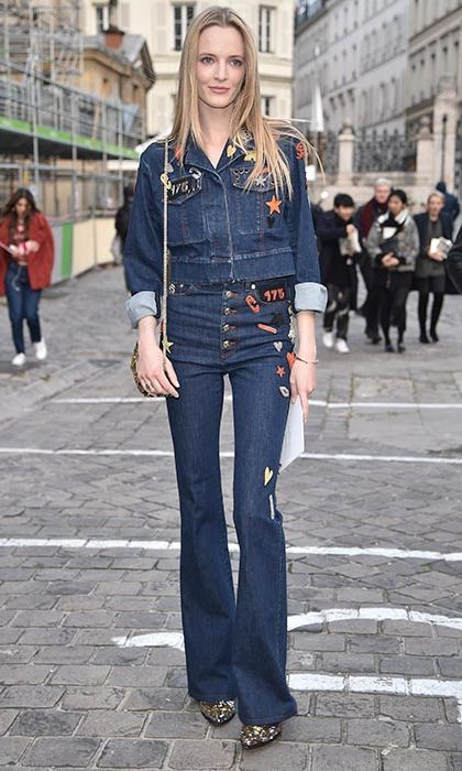 Model and actress Daria Strokous rocks embroidered double denim in Paris. 