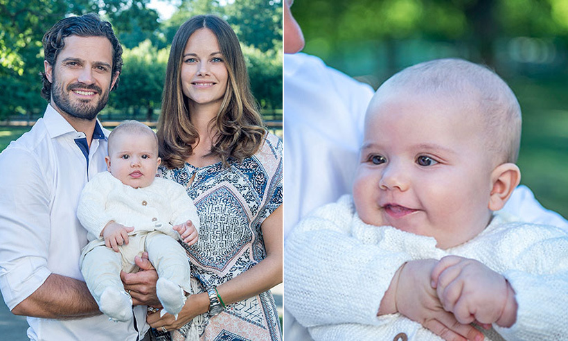 August 2016: Prince Carl Philip and Princess Sofia's son Alexander stole the show in a set of new family portraits released by the palace. The adorable four-month-old looked happy and healthy as he posed with his proud parents. 