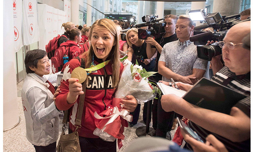 Wrestler Erica Wiebe is happy to be home following her gold medal performance in Rio. 