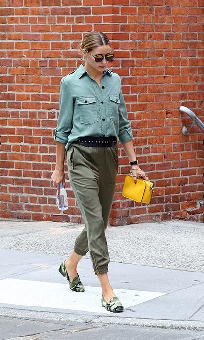 Keeping it cool and relaxed in khaki and camo print Pretty Ballerina loafers with an injection of yellow. 