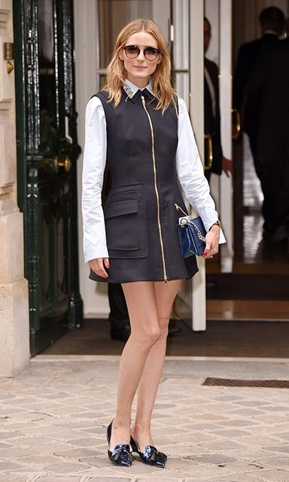 Wearing a full Dior look in Paris with Jimmy Choo flats. 