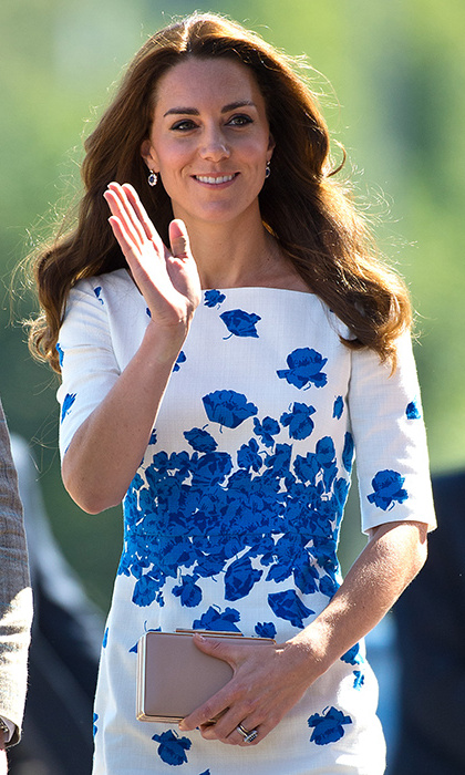 The Duchess looked radiant in an L.K. Bennett dress.