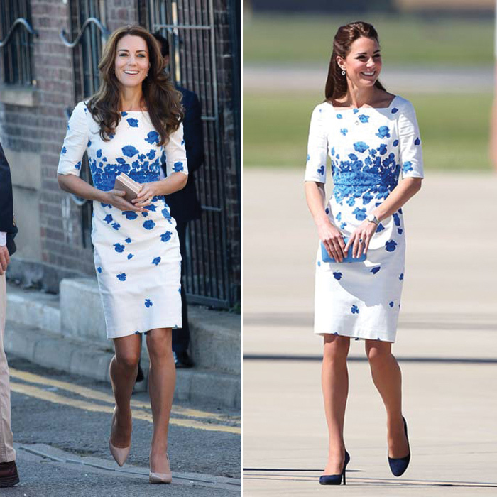 After a month-long summer holiday with Prince William and their children, Prince George and Princess Charlotte, Kate looked rested and refreshed as she stepped out in Luton for a day of joint engagements with her husband. Fans were quick to recognize her L.K. Bennett dress, a blue-and-white floral number that the duchess first wore while on tour in Brisbane in 2014. While wearing the Lasa Poppy Print Dress with navy heels and a vibrant blue clutch bag, she famously climbed into the cockpit of a fighter jet. For her more recent outing, Kate kept her accessories nude and wore her hair down in her signature blow-dry.
