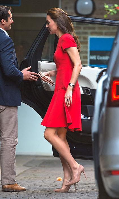Kate stepped out in red LK Bennett on Thursday. 