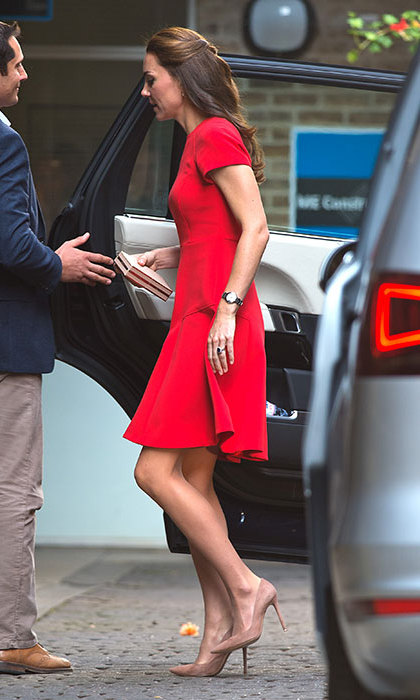 The Duchess looked radiant in a red L.K. Bennett dress.