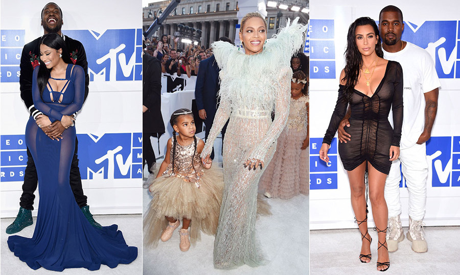 It was date night at the 2016 VMAs, where Nicki Minaj and Meek Mill got cozy on the red carpet before Kim Kardashian and Kanye West made a sultry entrance. Feather-clad Beyoncé was also one to watch with her  adorable date for the night - daughter Blue Ivy. From Ariana Grande and Britney Spears to Jaden Smith and Hailey Baldwin, see all the best red-carpet looks from MTV's annual video extravaganza...