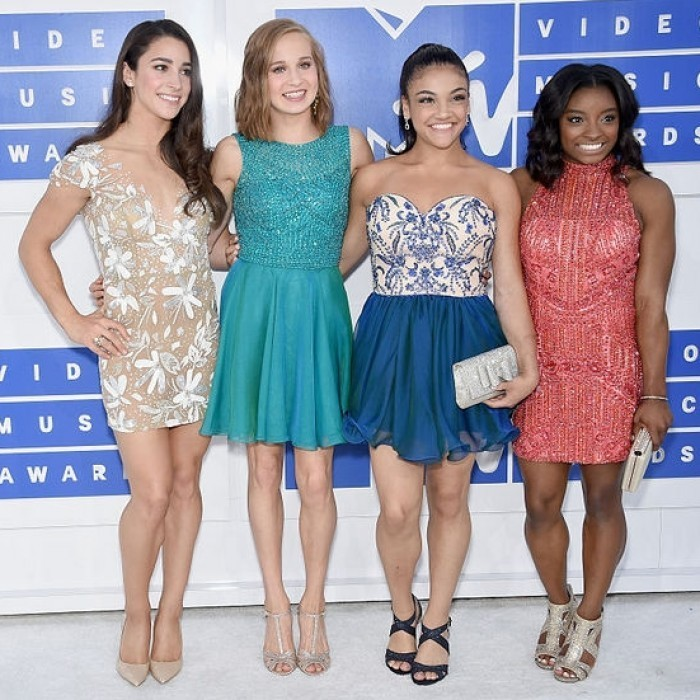 Aly Raisman, Madison Kocain, Laurie Hernandez and Simone Biles of Team USA's women's gymnastics team.