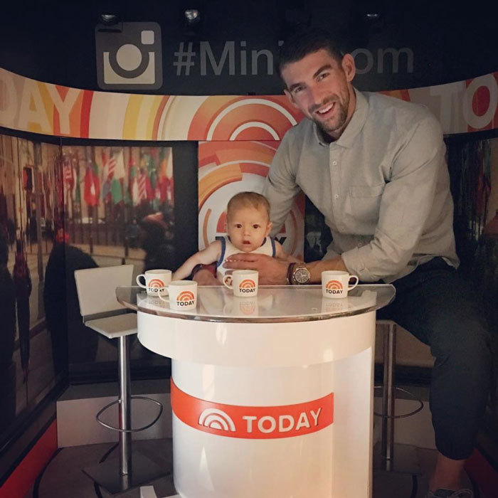 "The camera loves him! Boomer looked like a natural behind the desk as he joined his Olympian father at NBC's <i>Today</i>. The little's boy's Instagram noted: ""Watch @mattlauernbc and @carsondaly I'm coming for ya!! @todayshow.""