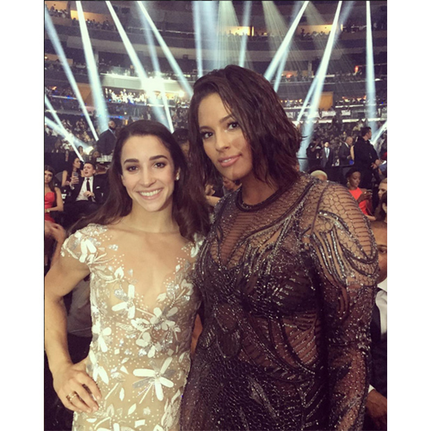 "Olympian Aly Raisman posed with Ashley Graham who she says was ""slaying as usual.""