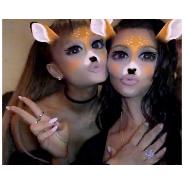 Ariana Grande got silly with Kim Kardashian on Snapchat. 