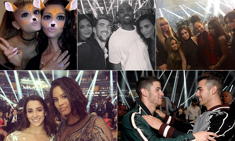When they weren't busy watching Beyoncé  and Rihanna take over the stage with show-stopping performances, A-listers like Kim Kardashian and Ariana Grande made the rounds, stopping to pose for pictures with their celebrity friends. 