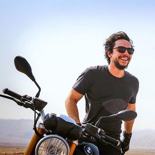 Prince Hussein shared snaps of himself riding a motorbike. 
