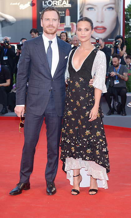 Michael Fassbender and Alicia Vikander in Louis Vuitton. 