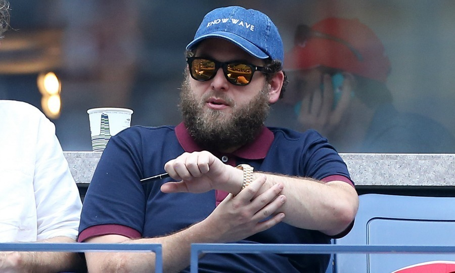 Going undercover? <em>Wolf of Wall Street</em> star Jonah Hill showed off some serious facial hair and rocked a more rugged look.