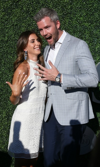 Newly married Ryan Serhant and Emilia Bechrakis showed off their bling before heading into the games.