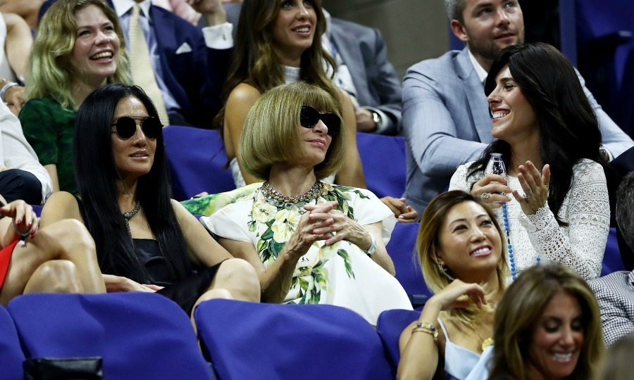 Vera Wang, Anna Wintour and Cheryl Scharf had a few laughs while they watching the first round Men's Singles match between Novak Djokovic and Jerzy Janowicz.