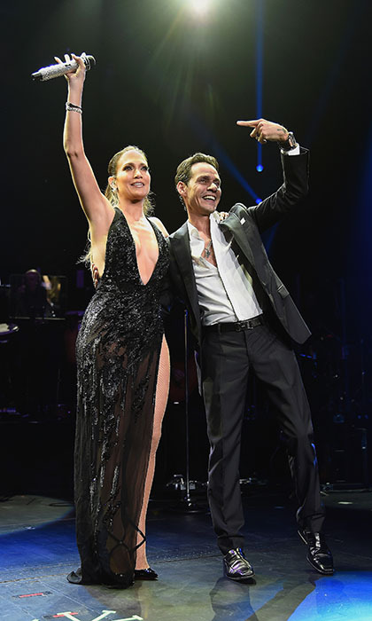 Jennifer Lopez surprised fans as she joined her ex-husband Marc Anthony onstage at his The Private Collection concert in New York City.