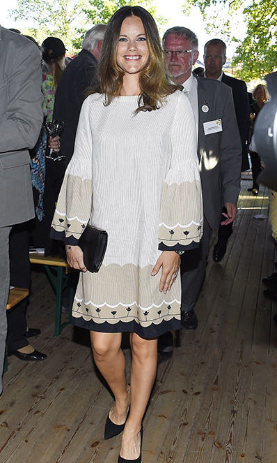 A bell sleeve dress and black heels created a chic outfit for Princess Sofia at the Swedish local heritage federation centenary celebrations.
