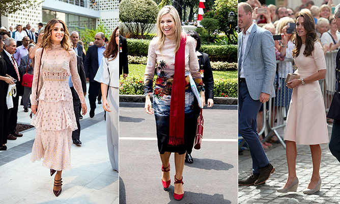 From Queen Maxima's tour of Indonesia to Kate's mini-tour of Cornwall and Queen Rania's stunning appearance at Amman Fashion Week in Jordan, stylish royals were out in spades this week. We also took ample inspiration from the leading ladies in Sweden, Denmark and Belgium. Click through our gallery for the week's best-dressed royals!