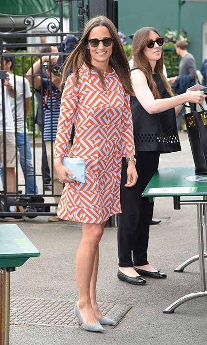 Pippa certainly stood out from the crowd in this sixties-inspired Tabitha Webb dress.