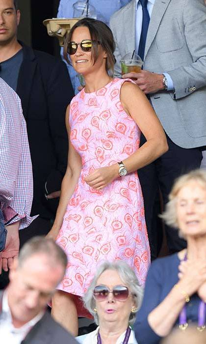 The tennis fan showed off her own impressive courtside style throughout the tournament - we loved this pink printed shift dress.