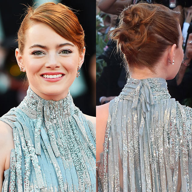 Emma Stone proved that having short hair doesn't mean you can't have a chic updo with this eye-catching double-bun style, leaving a few strands loose for a laidback chic finish. Her make-up was equally as striking, with the <em>La La Land</em> star opting for shimmering eyeshadow, voluminous lashes and pale pink lipstick. 