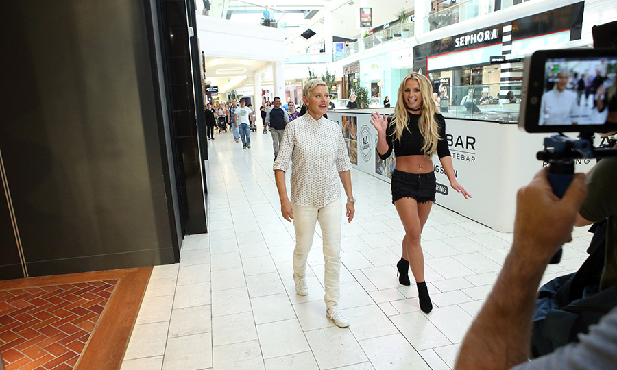 Ellen DeGeneres and Britney Spears strutted their stuff at the mall.