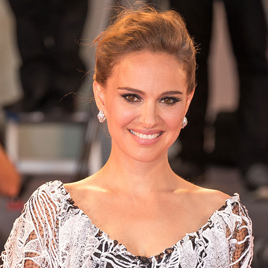 Natalie Portman channelled old Hollywood with an elegant updo, pink lipstick and winged eyeliner with a flawless feline flick.