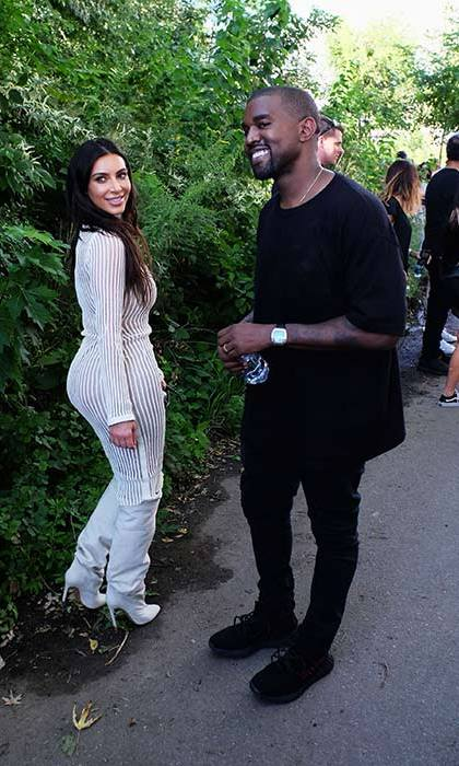 Kim and Kanye looked happy after the show.