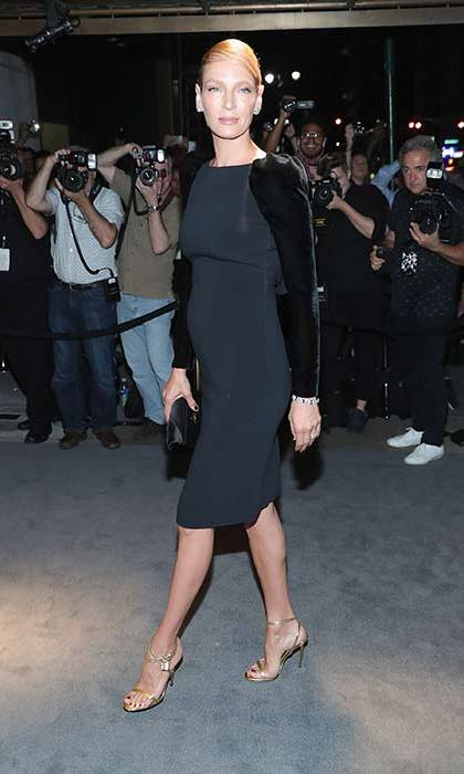 Velvet details put a directional spin on Uma's LBD.