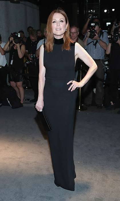 Julianne Moore keeps it classic in a sleeveless black gown.